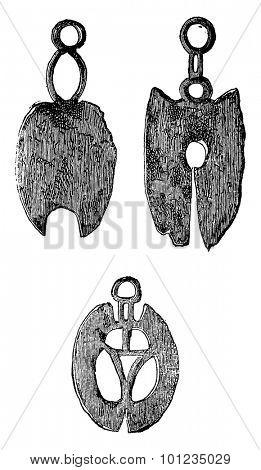 Gallic razors, vintage engraved illustration. Industrial encyclopedia E.-O. Lami - 1875.