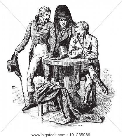 Men suit in 1798, vintage engraved illustration. Industrial encyclopedia E.-O. Lami - 1875.
