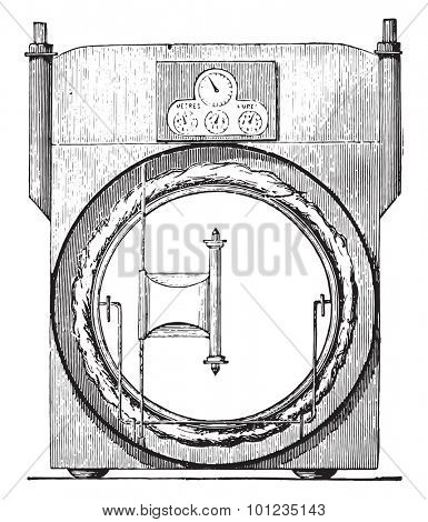 Sec meter, invariable measure, vintage engraved illustration. Industrial encyclopedia E.-O. Lami - 1875.