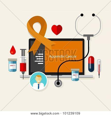 appendix cancer appendicitis medical orange ribbon treatment health disease