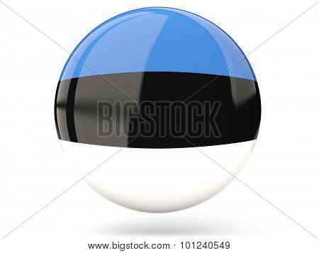 Glossy round icon with flag of estonia poster