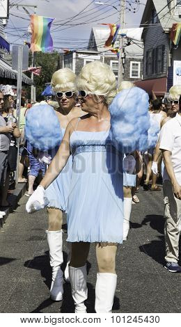 Drag queens walking in the 37th Annual Provincetown Carnival Parade in Provincetown, Massachusetts.