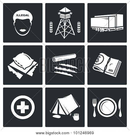 Camp For Displaced Persons Vector Icons Set