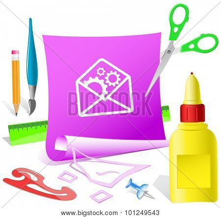 open mail with gears. Paper template. Vector illustration.