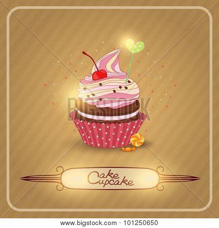Vector illustration air fruit cream on the cupcake.