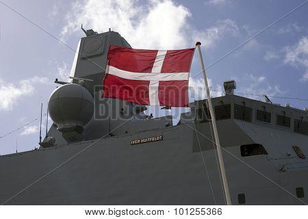 Closeup Frigate And Flag