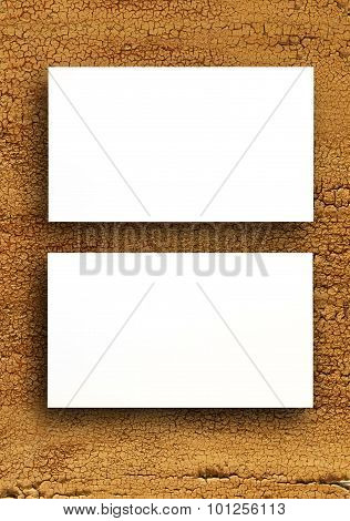 Blank Business Cards On A Wooden Background.