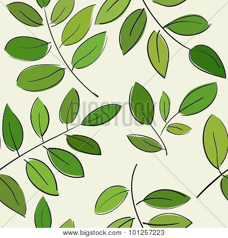 Pattern With Beautiful Branches With Green Leaves