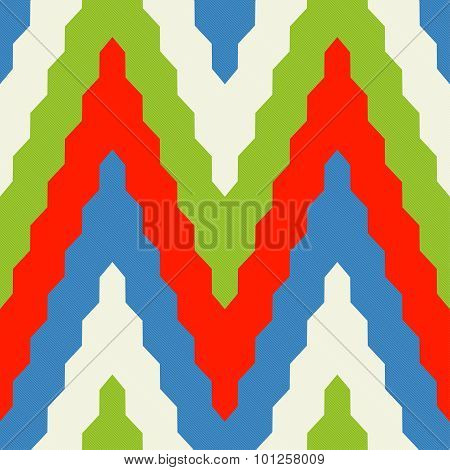 Pattern With Zig Zag In Red, Blue And Green Colors