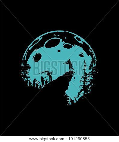 Zombie Silhouette Scenery, blue Moon Background
