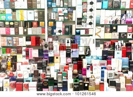 Counterfeit perfume brands on display