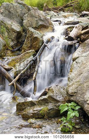 Beautiful Waterfall Stream Flowing Among Stones