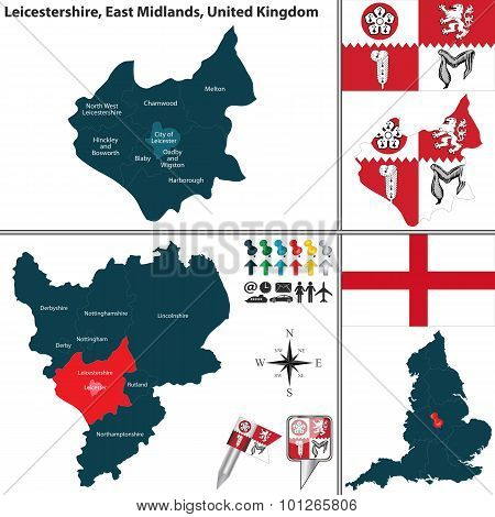 Vector map of Leicestershire in East Midlands United Kingdom with regions and flags poster