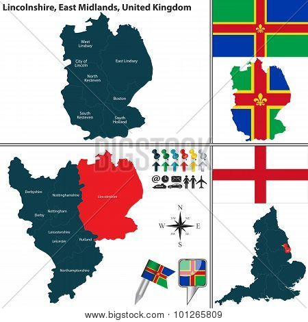 Vector map of Lincolnshire in East Midlands United Kingdom with regions and flags poster