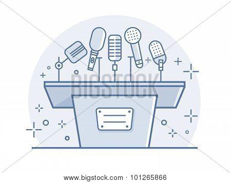 Tribune with microphones