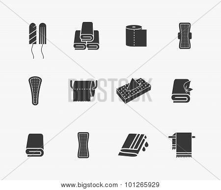 Towels, napkins and feminine hygiene products vector icons. Menstrual sanitary, woman vaginal tampon, vector illustration poster