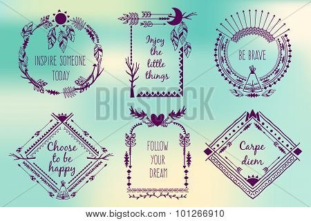 Hand drawn boho style frames with place for your text. Arrow and feather and horns, art vector illustration poster