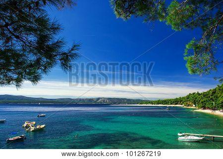Beautiful beach Zlatni Rat in Croatia