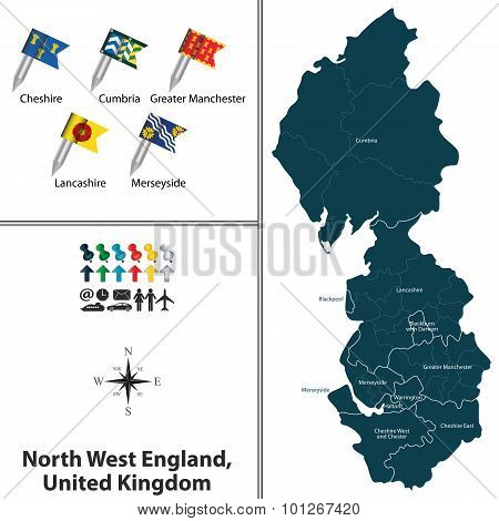 Vector map of North West England United Kingdom with regions and flags poster