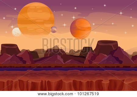 Cartoon sci-fi  game vector seamless background. Alien planet landscape