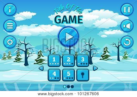 Cartoon winter or arctic landscape with ice, snow cloudy sky. Game user interface control elements,