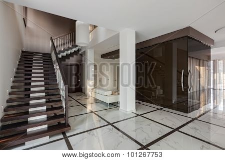 Luxury hall with staircase and glass wardrobe in modern style poster