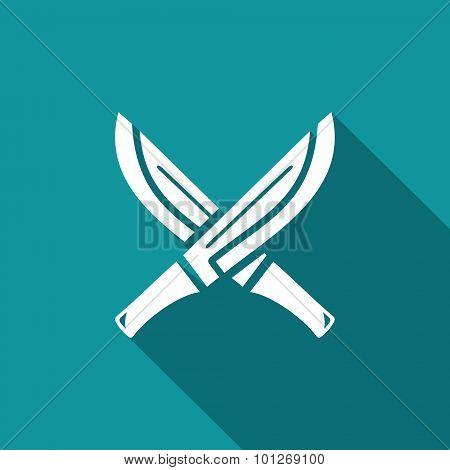 Machete With Wooden Handle Icon. Vector Illustration