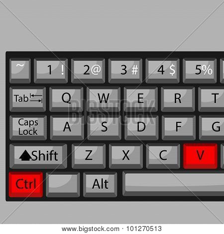 Combination of buttons to paste. Keyboard ctrl V combination key fast and quickly command. Vector graphic illustration poster