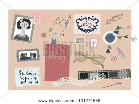 Vintage Blog Banner With Nice Elements For The Photos, Writing, Sewing