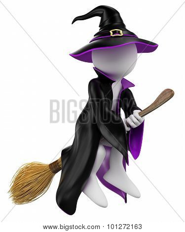 3D White People. Halloween. Witch On Her Broomstick