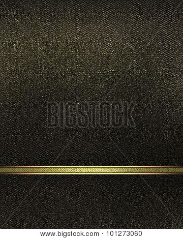 Black Nameplate With Gold Line Element For Design. Template For Design. Copy Space For Ad Brochure O