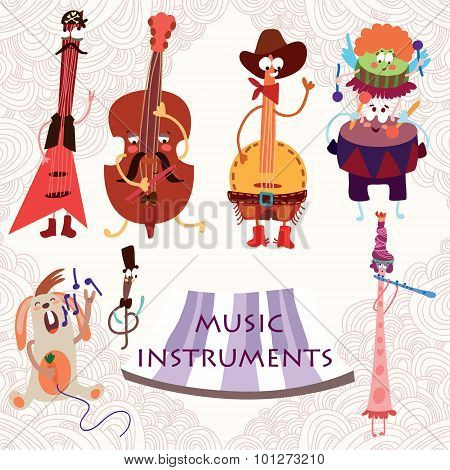Music Instruments With Rabbit: Guitar, Contrabass, Drums, Flute, And Banjo. Cute Vector Set For Part