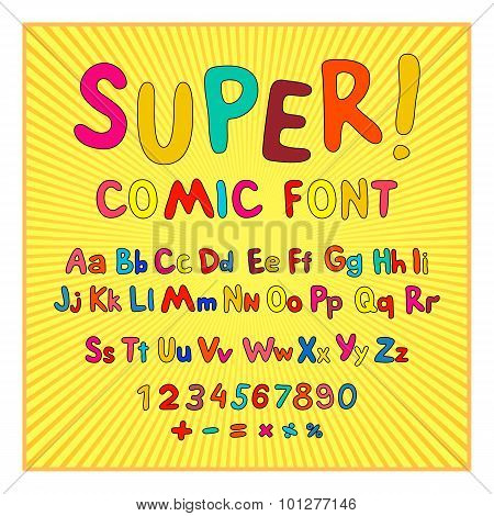 Creative Comic Font. Alphabet In Style Of Comics, Pop Art. Multilayer Funny Red & Chocolate  3D