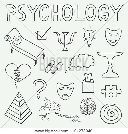 Psychology Hand Drawn Doodle Set And Typography