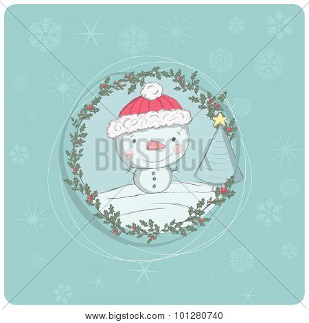 Christmas greeting - Cute Snowman and a little christmas tree - vector illustration