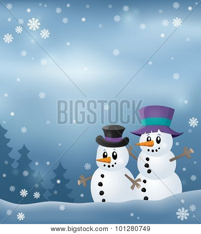 Winter snowmen thematics image 3 - eps10 vector illustration.