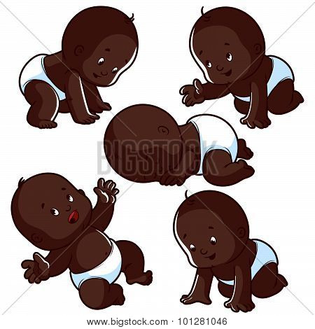 Baby toddler set with babies in diapers crawling baby sleeping baby and happy baby. African american baby. Vector Illustration on a white background. poster
