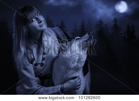 Girl And Wolf In The Deep Forest
