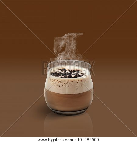 Cup Of Glace Coffee On Brown