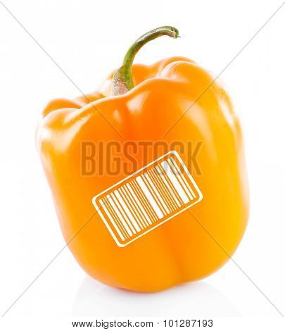 Yellow pepper with barcode isolated on white