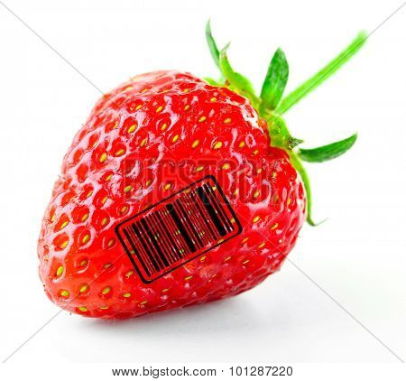 Ripe strawberry with barcode, isolated on white