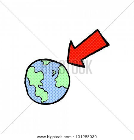 comic book style cartoon arrow pointing at earth