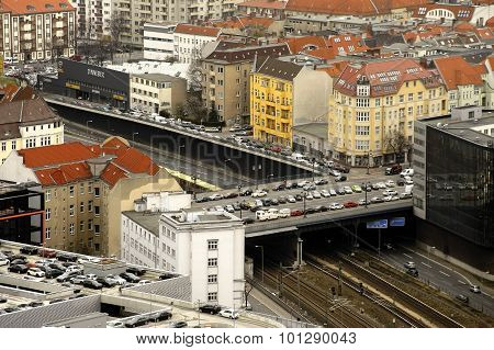 BERLIN, GERMANY - APRIL 08: The aerial view of the infrastructure of the neighborhood Charlottenburg with apartment buildings and parking areas on April 08 2015 in Berlin.
