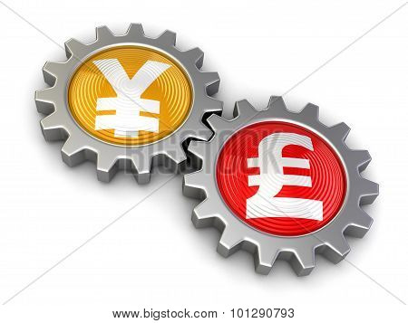 Gears with yen and Pound (clipping path included)