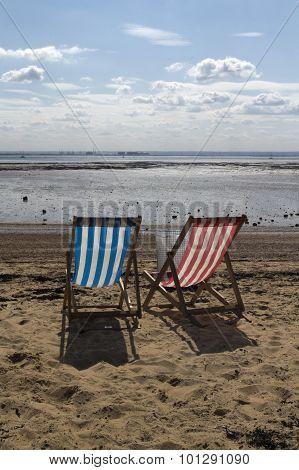 Deckchairs on Three Shells Beach, Southend-on-sea, Essex, Englan