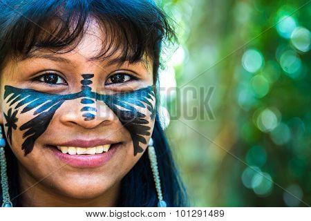 Brazilian cute indian girl in Amazon, Brazil