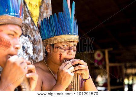 Brazilian Indians showing their ritual in Amazon