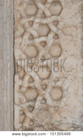 Ottoman relief ornament on the facade of Caravanserai Sultan Han near Kayseri close-up poster