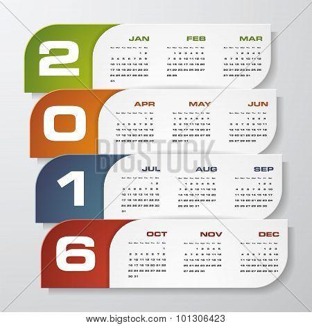 Simple design calendar 2016 year vector design template.