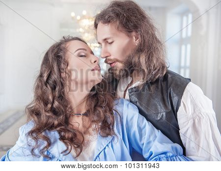 Beautiful Passionate Couple Woman And Man In Medieval Clothes